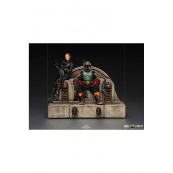 Star Wars The Mandalorian Deluxe Art Scale Statue 1/10 Boba Fett and Fennec on Throne 23 cm