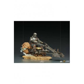 Star Wars The Mandalorian Deluxe Art Scale Statue 1/10 Mandalorian on Speederbike 18 cm