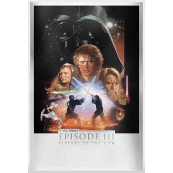 Star Wars Revenge of the Sith Silver Foil Framed Print