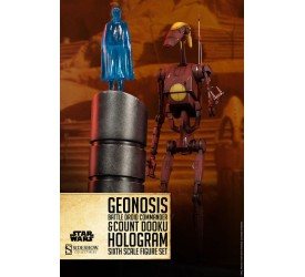 Star Wars Action Figure 1/6 Geonosis Commander Battle Droid & Count Dooku Hologram 30 cm