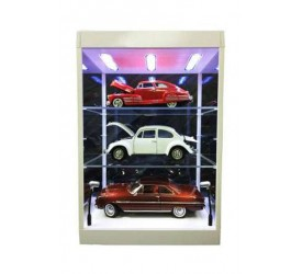 Display Case with Lighting for Model Cars and Action Figures (transparant/white)