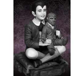 The Munsters Eddie Munster and Television Maquette Black and White version 16 cm