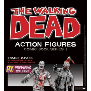 The Walking Dead Comic Version Action Figure 2-Pack Black & White Zombies PX 15 cm